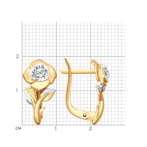 Серьги из золота с фианитами (027649) - фото №2