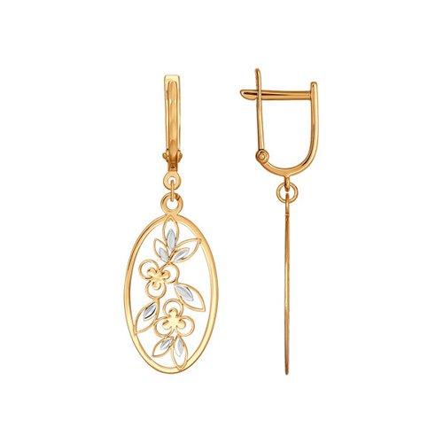 Серьги длинные из золота с алмазной гранью (025802) - фото