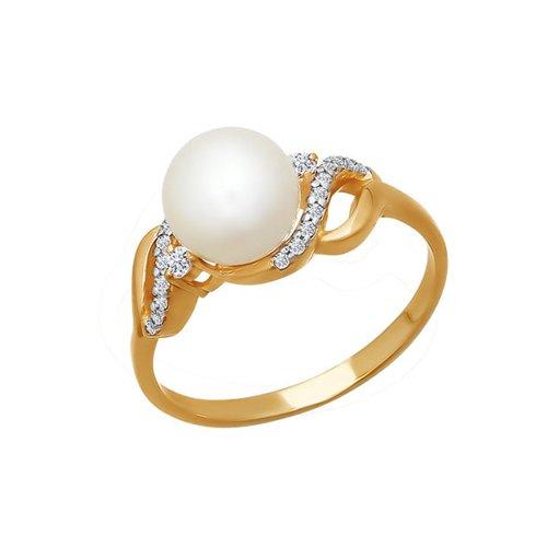 Кольцо из красного золота с жемчугом