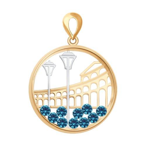 Подвеска из золота с синими Swarovski Zirconia и минеральным стеклом
