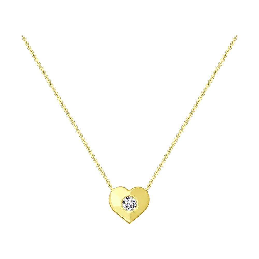 Колье SOKOLOV из желтого золота с фианитом
