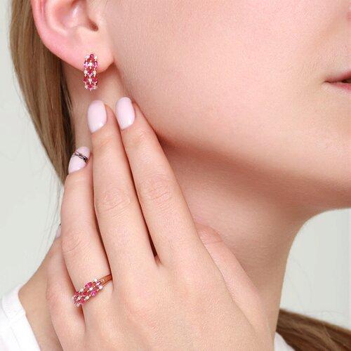 Серьги из золота с бриллиантами и рубинами (4020036) - фото №5