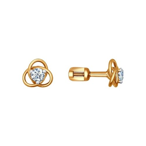 Серьги-пусеты из золота с бриллиантами (1020412) - фото