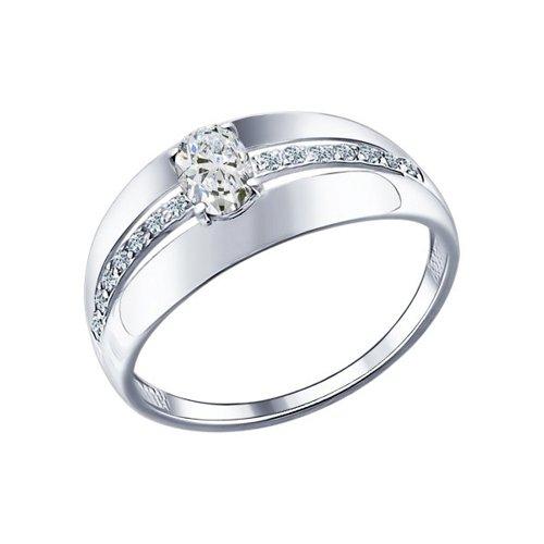 Кольцо из серебра с фианитами (94011472) - фото