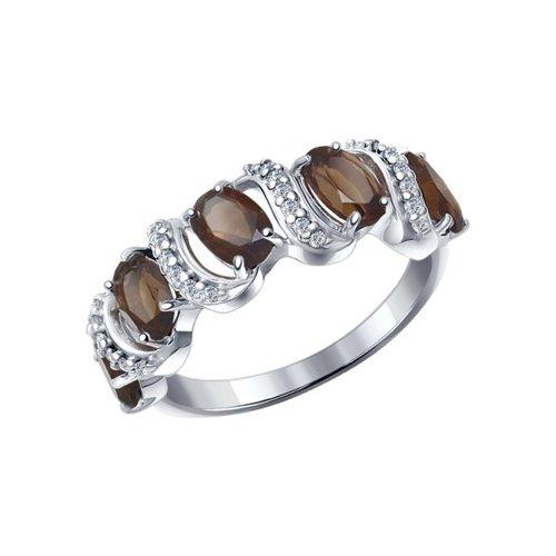 Кольцо из серебра с раухтопазами и фианитами