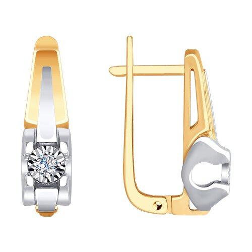 Серьги из комбинированного золота с бриллиантами (1021269) - фото
