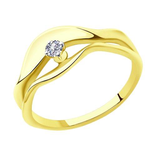 Кольцо из желтого золота с бриллиантом (1011903-2) - фото