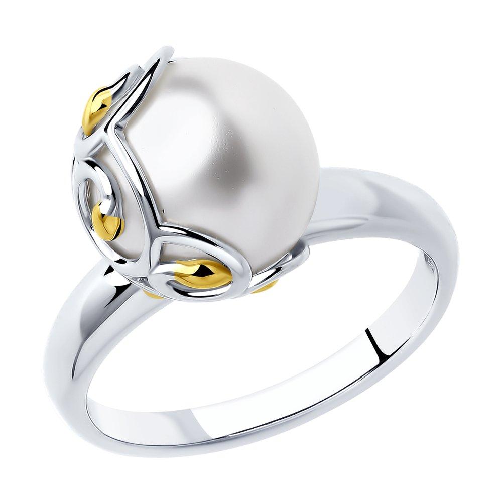 Ажурное кольцо SOKOLOV из золочёного серебра с жемчугом фото