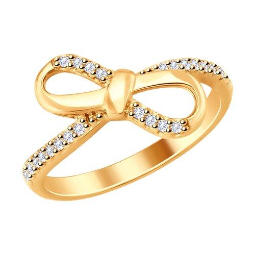 Кольцо из золочёного серебра с фианитами (93010740) - фото