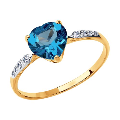 Кольцо из золота с синим топазом и фианитами (714993) - фото