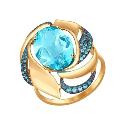 Кольцо из золота с ситаллом и зелеными фианитами