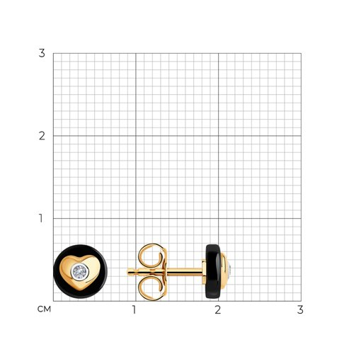 Серьги из золота с бриллиантами и керамическими вставками 6025137 SOKOLOV фото 2