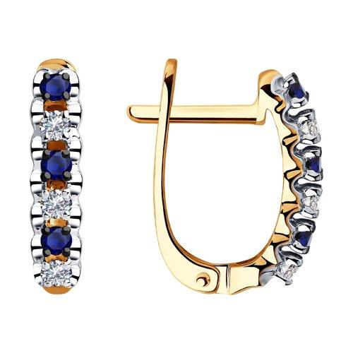 Серьги из золота с бриллиантами и сапфирами (2020936) - фото