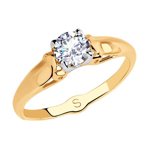 Кольцо из золота с фианитом (018061) - фото