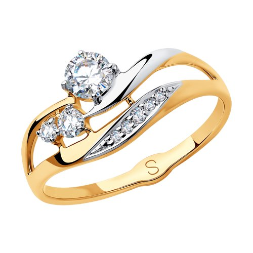 Кольцо из золота с фианитами (018240) - фото