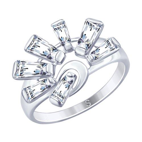 Кольцо из серебра с фианитами (94012837) - фото