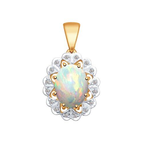 Подвеска из золота с бриллиантами и опалом (6034021) - фото