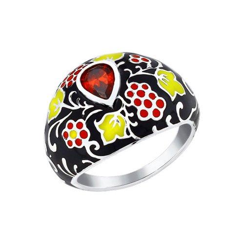 Кольцо из серебра с разноцветной эмалью