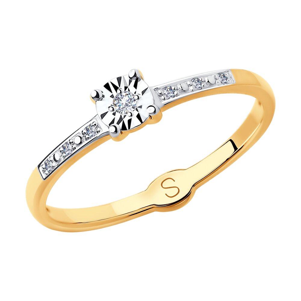 Кольцо SOKOLOV из комбинированного золота с алмазной гранью с бриллиантами фото
