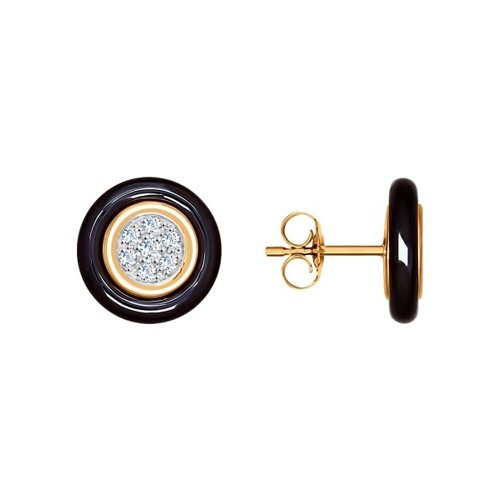 Серьги-пусеты из золота с чёрными керамическими вставками и фианитами