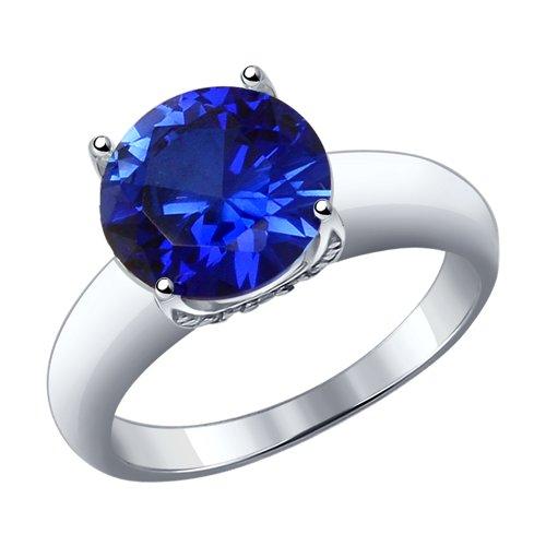 Кольцо из серебра с синим корундом (синт.) и фианитами (88010050) - фото