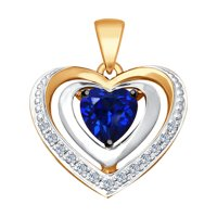 Подвеска из золота с бриллиантами и синим корундом