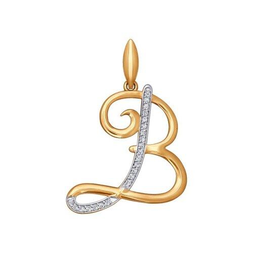 Кулон-буква «В» из золота (034699) - фото