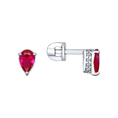 Фото - Серьги-пусеты SOKOLOV из серебра с красными фианитами ura jewelry серые серьги пусеты из серебра котики ura jewelry