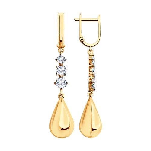 Серьги из золота с фианитами (028333) - фото