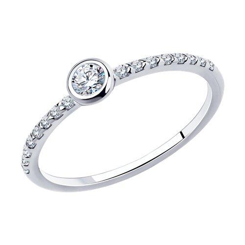 Помолвочное кольцо из серебра с фианитами (94010629) - фото