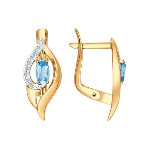 Серьги из золота с голубыми топазами и фианитами