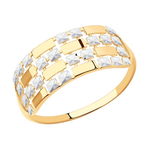 Кольцо из золота с алмазной гранью (017342) - фото