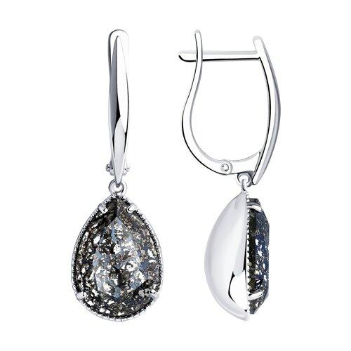 Серьги из серебра с чёрными кристаллами Swarovski 94022222