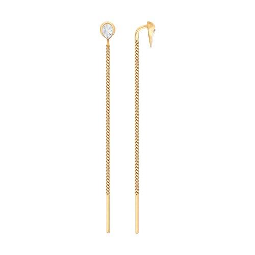 Серьги из золота с алмазной гранью (028003) - фото