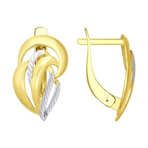 Серьги из желтого золота с алмазной гранью (027285-2) - фото