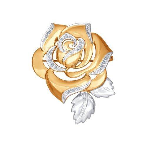 Брошь из золота с бриллиантами в виде розы (1040020) - фото