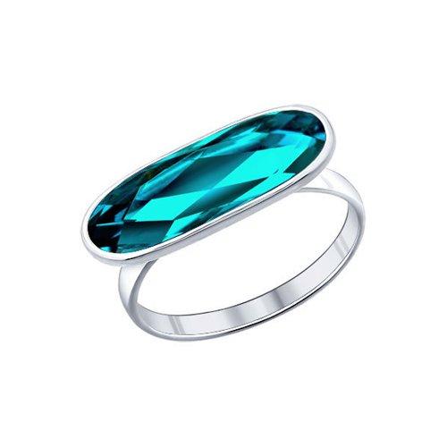 Кольцо из серебра с голубым кристаллом swarovski