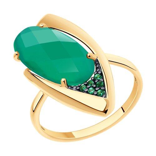 Кольцо из золота с агатом и зелеными фианитами