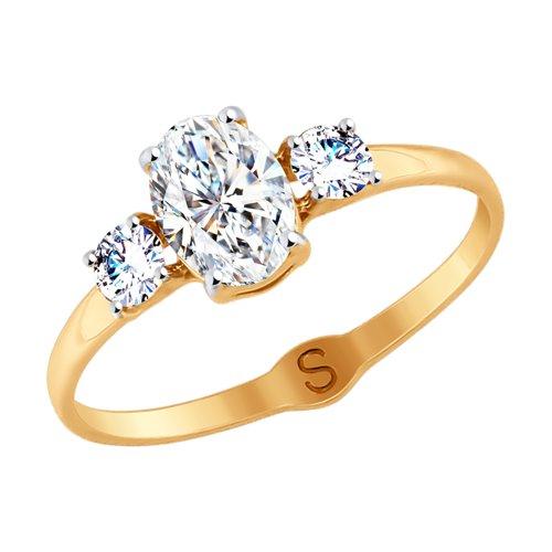 Кольцо из золота со Swarovski Zirconia (81010408) - фото