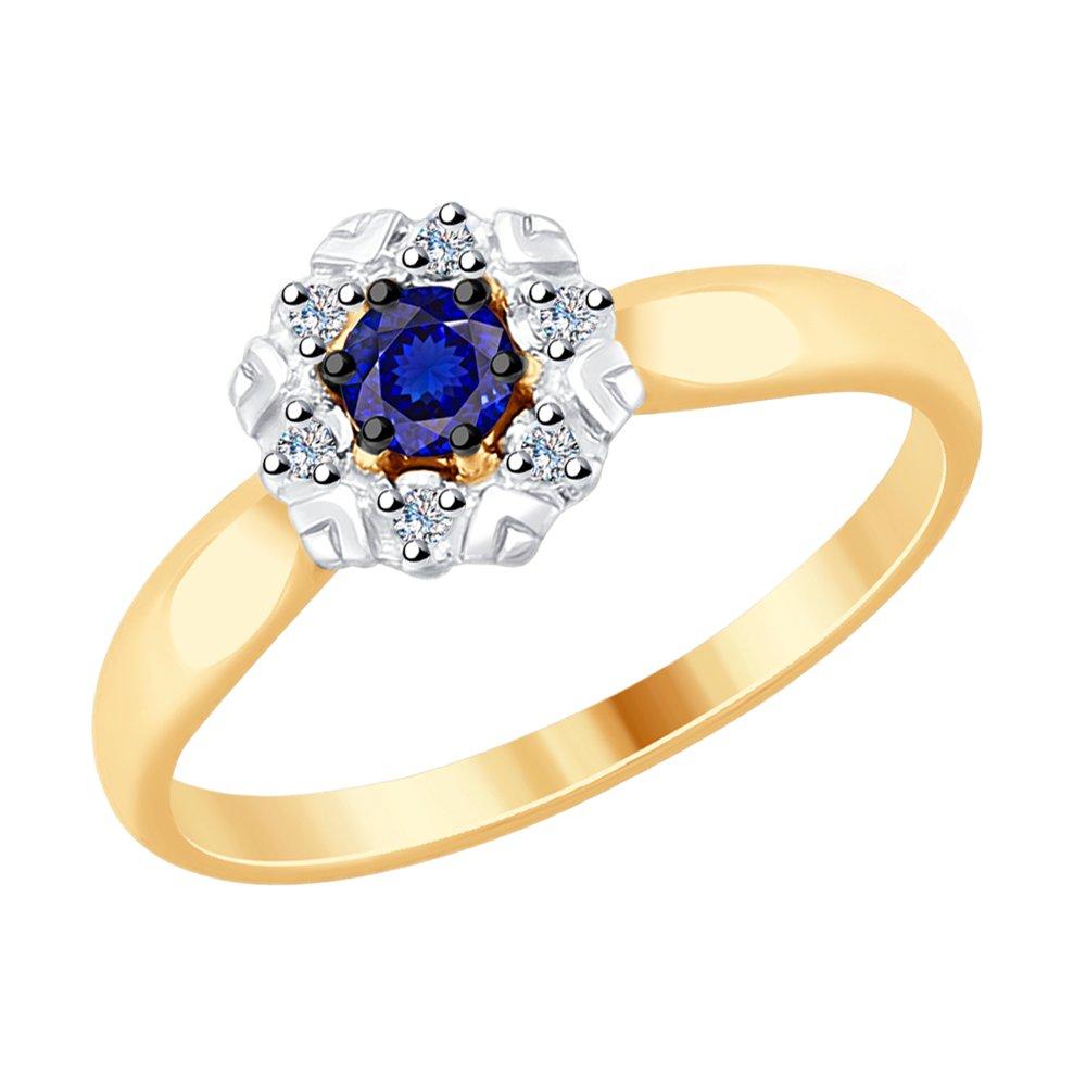 Кольцо SOKOLOV из золота с бриллиантами и синим корундом фото
