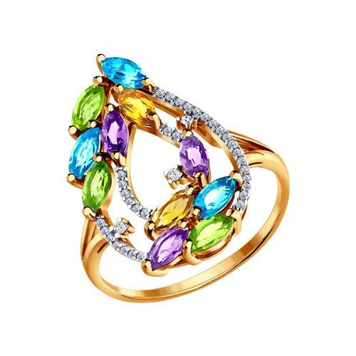 Золотое кольцо c цитринами, аметистами и топазами SOKOLOV золотое кольцо ювелирное изделие 01k663088