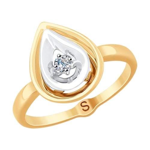 Кольцо из комбинированного золота с бриллиантом (1011784) - фото