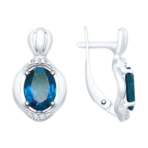 Серьги из серебра с синими топазами и фианитами (92021688) - фото