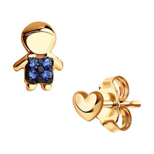 Асимметричные серьги-гвоздики из золота