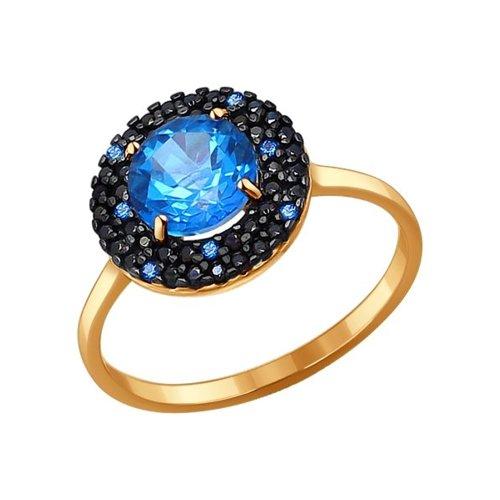 Золотое кольцо с фианитами и топазами Swarovski