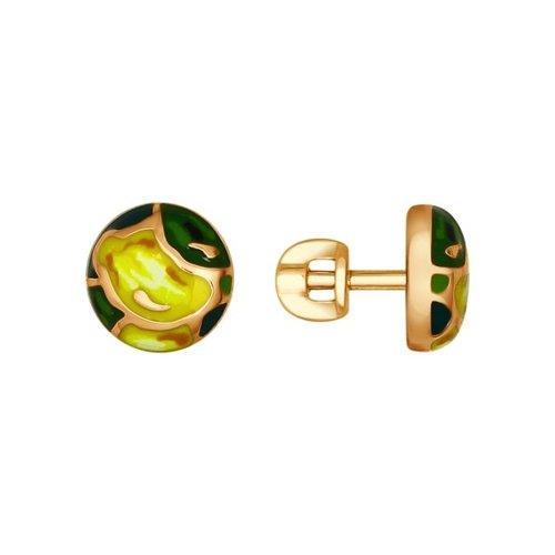 Позолоченные серьги-пусеты с эмалью