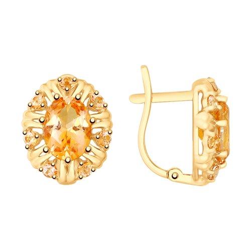 Серьги из золота с топазами Swarovski (725709) - фото