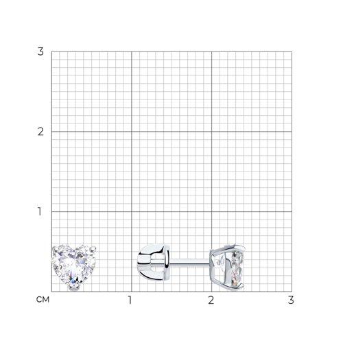 Серьги из белого золота с фианитами (026924-3) - фото №2