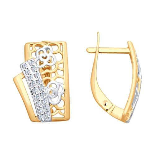 Серьги из золота с фианитами (027968) - фото