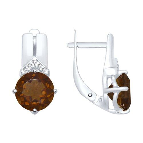 Серьги из серебра с раухтопазами и фианитами (92021846) - фото